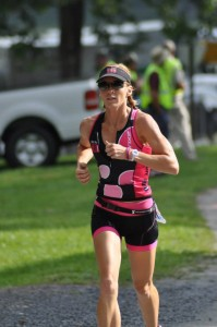Krista Schultz finishing Luray International Triathlon