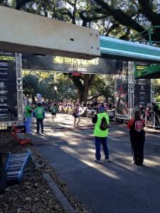 Krista Schultz finishing New Orleans Half Marathon