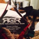 twix with galesburg half marathon trophy